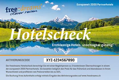 1 freedreams Hotelscheck – 3 Übernachtungen für 2 Personen – bis zu 60 % gegenüber einer Buchung direkt beim Hotel sparen!