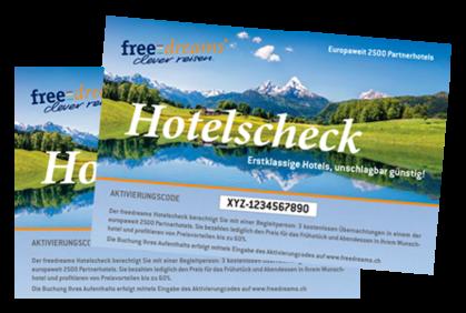 %color_start%2 FÜR 1 ANGEBOT:%color_end% 2 freedreams Hotelschecks für nur CHF 85.- statt CHF 170.-