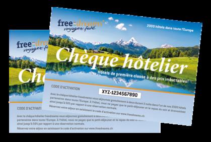 2 chèques hôteliers freedreams pour seulement CHF 120.- au lieu de CHF 170.-
