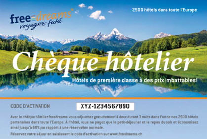 1 chèque hôtelier freedreams