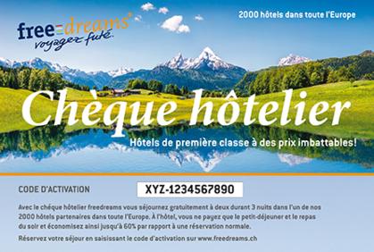 1 chèque hôtelier freedreams – 3 nuitées pour 2 personnes – économisez jusqu'à 60% par rapport à une réservation régulière